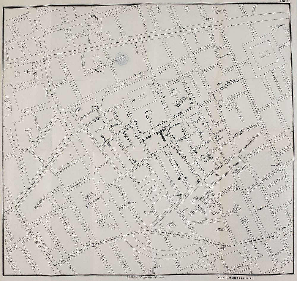 Map of Broad Street, London (by John Snow, all rights reserved by The British Library Board)